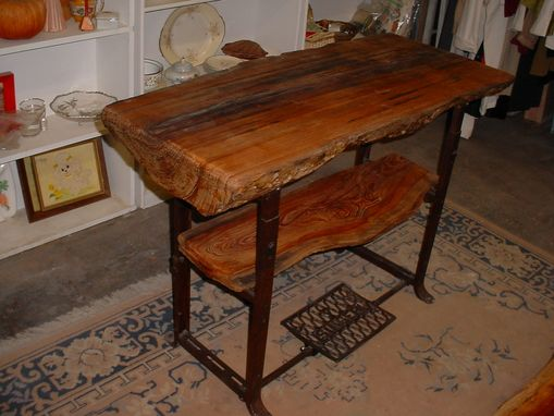 Custom Made Cypress Slab Table On Commerical Singer Sewing Machine Base