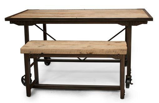 Custom Made Custom Farmhouse Reclaimed Wood & Steel Dining Table, Rustic Kitchen Table & Bench, Conference Table