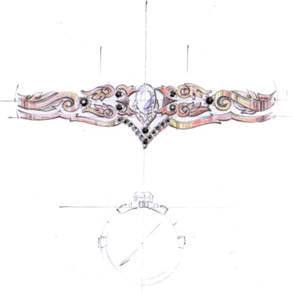 Design sketch for a rose gold bridal set with black diamond accents and owls incorporated in the vintage-inspired filigree.