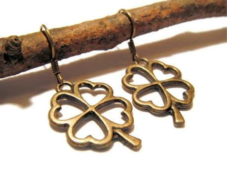 Custom Made Bronze Shamrock Earrings - Four Leaf Clover Earrings