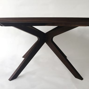 Custom Made Contemporary Modern Solid Walnut Round Dining Table With Sculptural Solid Walnut Legs - Seats 6-8