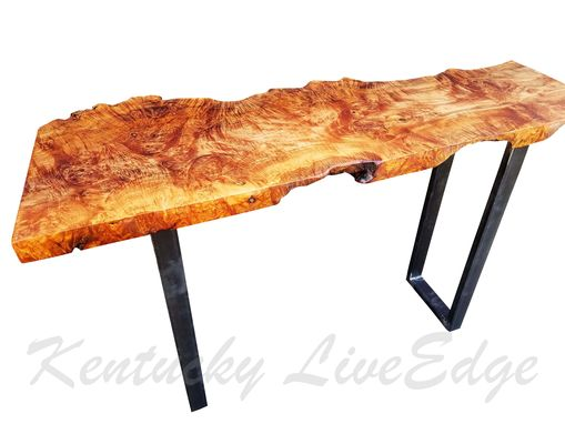 Custom Made Sofa Table- Live Edge- Industrial Table- Console Table- Desk- Natural Wood- Modern- Big Leaf Burl