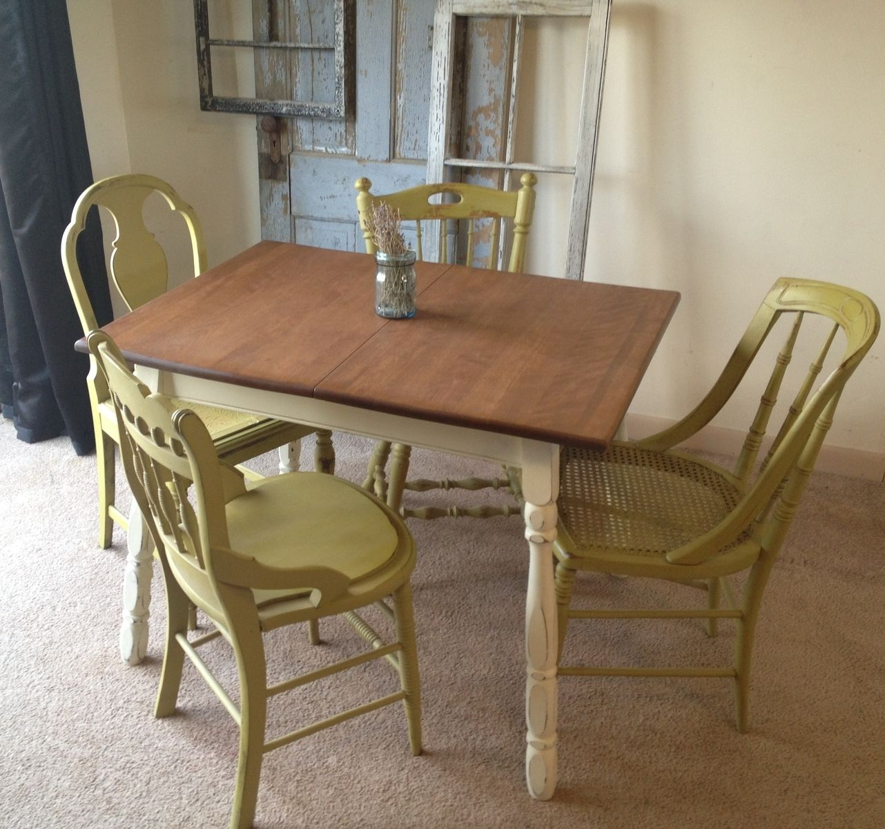 Custom made vintage small kitchen table with four miss matched chairs