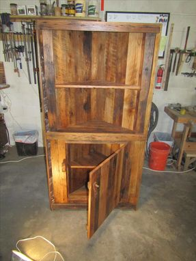 Custom Made Barn Wood Corner Cabinet