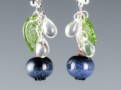 Custom Made Glass Blueberry Earrings With Leaves And Water Drops