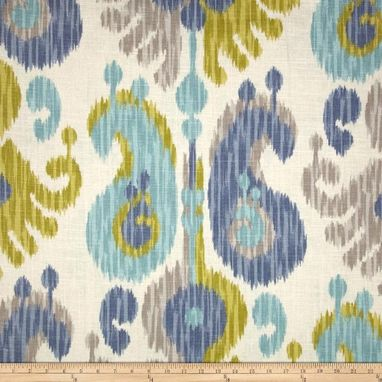 "Custom Made Custom Designer Draperies: Braemore Journey Ikat On Putty Gray Linen 108""L X 50""W"