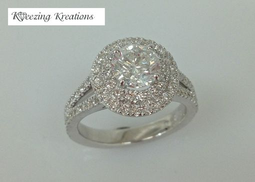 Custom Made 18k Double Halo Engagment Ring With Split Shank