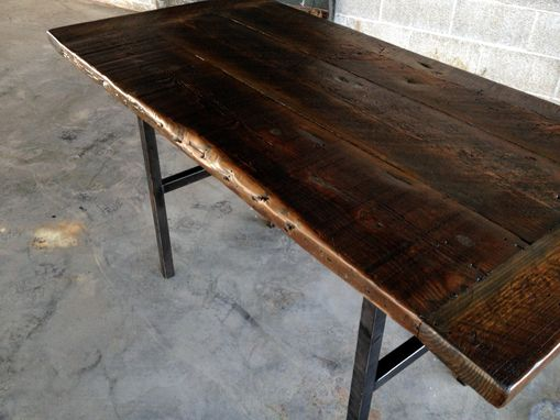 Reclaimed Wood Kitchen Table With Steel Legs And Iron Stakes. Hand Crafted Reclaimed Wood Kitchen Table With Steel Legs And Iron
