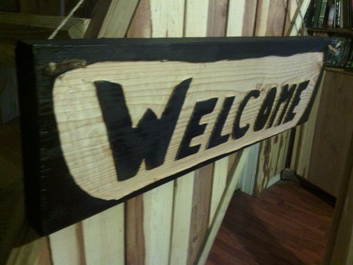 "Custom Made Solid Wooden Sign With ""Welcome"" Reverse Engraving"