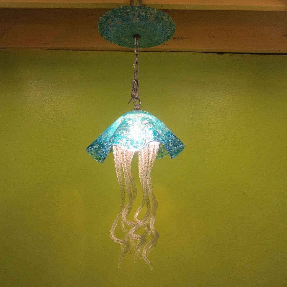 Buy a hand made jellyfish pendant light turquoise jellyfish buy a hand made jellyfish pendant light turquoise jellyfish blown glass lighting art glass chandelier made to order from primo glass lighting aloadofball Choice Image