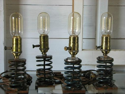 Custom Made Industrial Reclaimed Spring Table Lamp