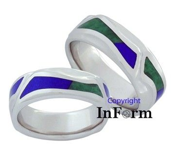 Custom Made Platinum Wedding Ring With Lapis Lazuli And Chinese Jade