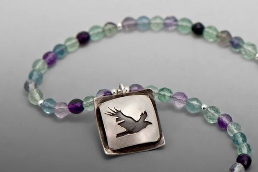 Custom Made Flying Raven Necklace, Silver And Fluorite