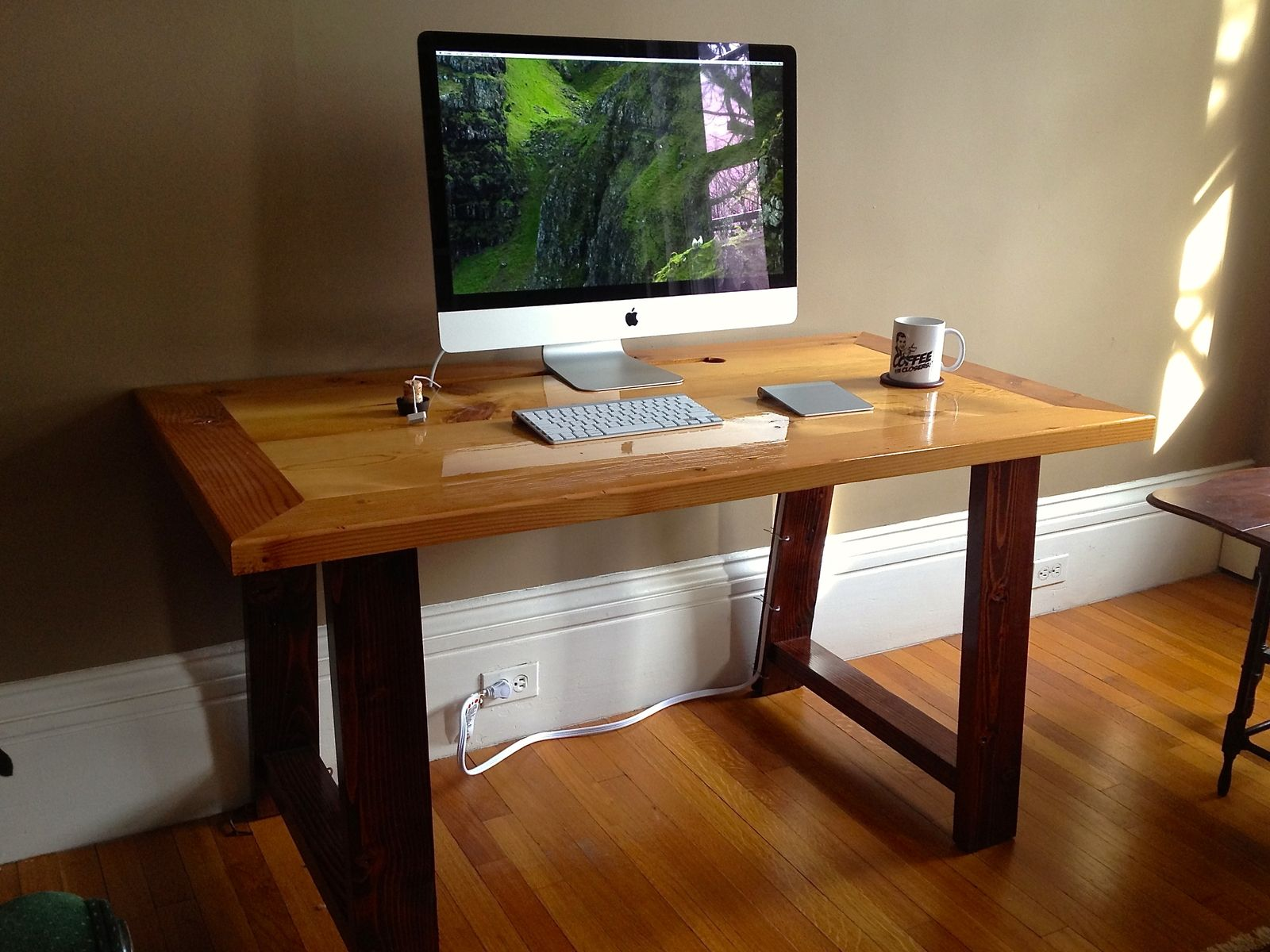 Hand Made Industrial Mill Inspired Reclaimed Wood Desk By