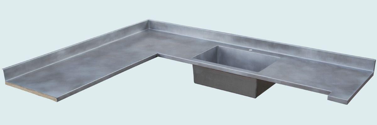 Custom Zinc Countertop With Integral Sink & Backsplash by ...
