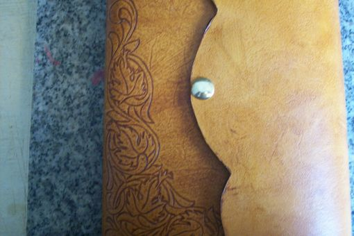 Custom Made Custom Leather Journal With Leaf Sheridan Design And Scalloped Edge Closure