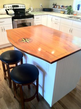Custom Made Compass Rose Inlay Kitchen Island