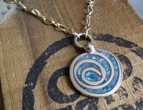 "Custom Made Brass Necklace With Spiral Design And Multi-Colored Stone Inlay ""Follow The Yellow Brick Road''"