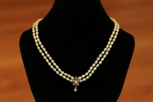 Custom Made Victorian Rose Cut Diamond And Pearl Flower Necklace. Perfect For Bridal Jewelry!