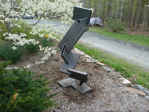 Custom Made Large Outdoor Abstract Rock And Metal Scultpure, Yard Art Or Interior Art
