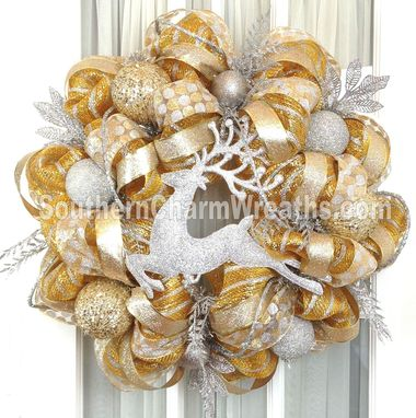 Custom Made Custom Deco Mesh & Silk Flower Wreath