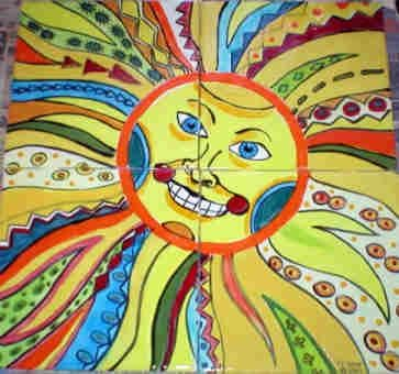 Custom Made Hand Painted Tile Mural: Mayan Sun God
