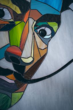 Custom Made Stained Glass Portrait Of Salvador Dali