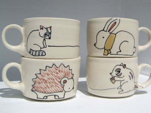 Custom Made Set Of Espresso Cups - Handmade Miniature Coffee Mugs - Made To Order - Pick Your Animals