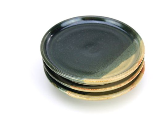 Custom Made Pond And Sencha Plates Dishes Saucers Set Of 3 Black And Yellow Green Wheel Thrown Ceramic Pottery