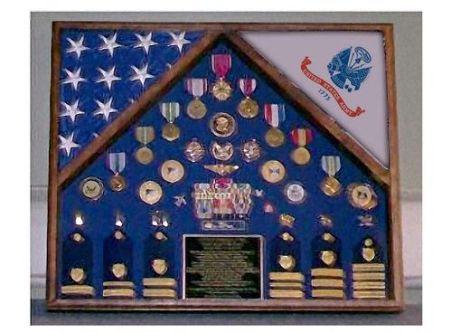 Custom Made Army 2 Flag Shadow Case, 2 Flag Army Flag Display Case