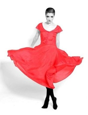 Custom Made Fiery Red Circular Dress