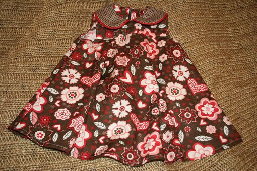 Custom Made Brown Sleeveless Dress With Whimsical Flowers & Hearts - Sz 2