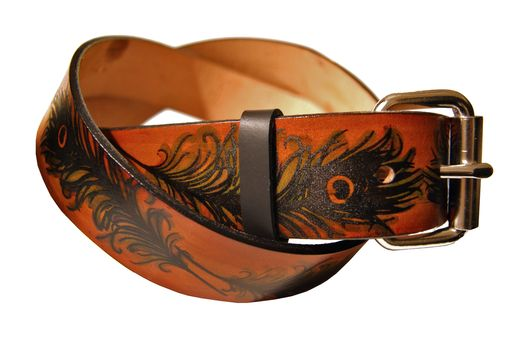 Custom Made Peacock Feather Leather Belt