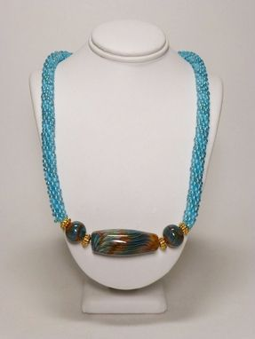 Custom Made Set - Transparent Rainbow Aqua Kumihimo Necklace With Lampwork Beads And Earrings