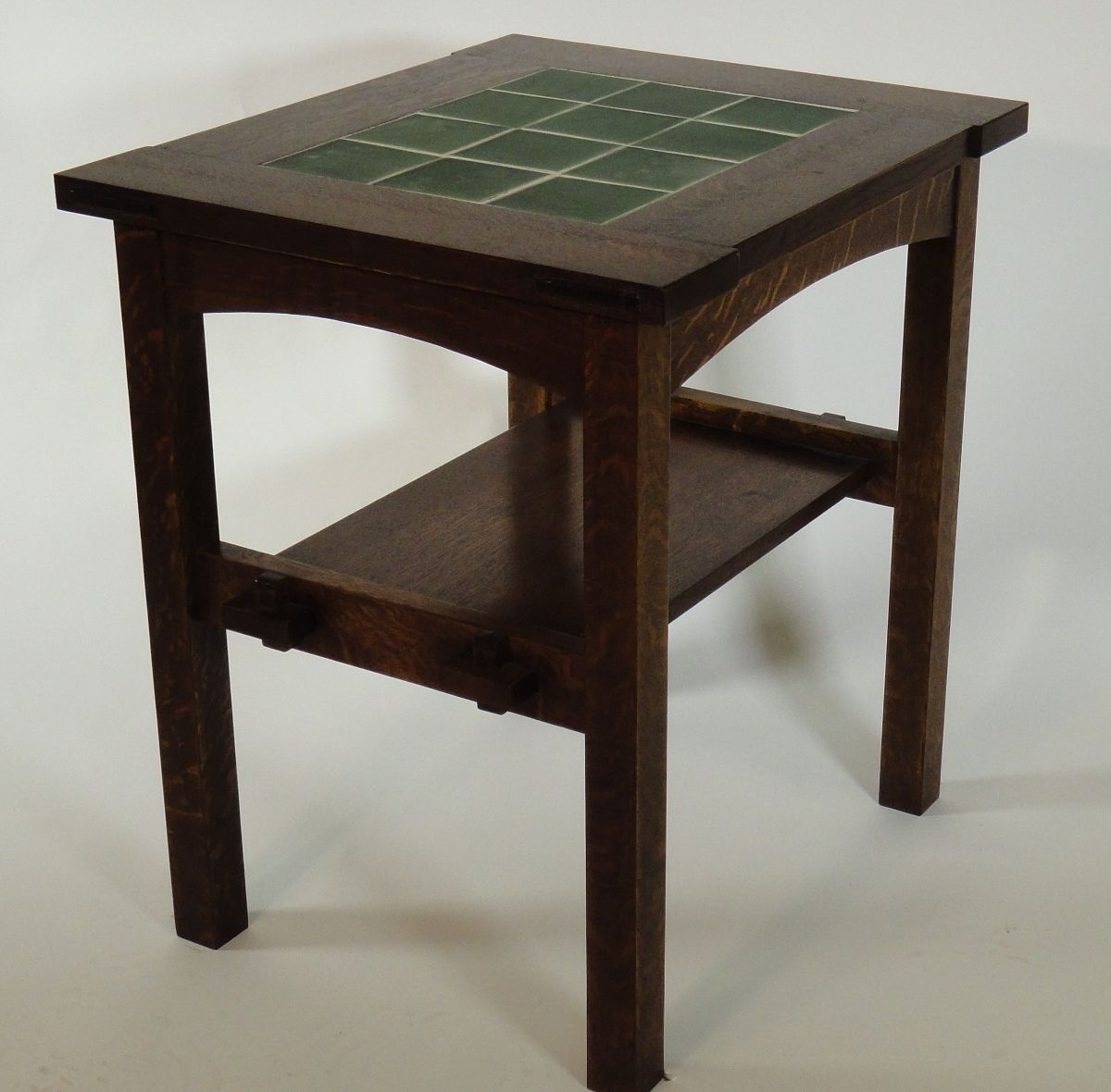 hand made reproduction stickley 12 tile side table by mostly mission furniture. Black Bedroom Furniture Sets. Home Design Ideas