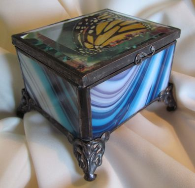 Custom Made Monarchbutterfly Blue  Jewelry Box