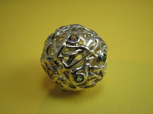 Custom Made Sphere Pendant In Sterling Silver With Multicolored Gemstones