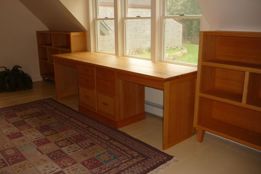 Custom Made Double Desk And Bookshelves