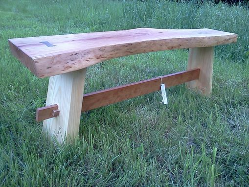 Custom Made Live Edge Cherry Slab Table W/ Pine Legs