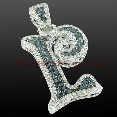 Custom Made White Blue Diamond Initial Pendant
