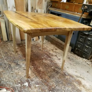 Custom Made Custom Maple Dining Room Table With Black Walnut Butterflies And Ash Apron Base