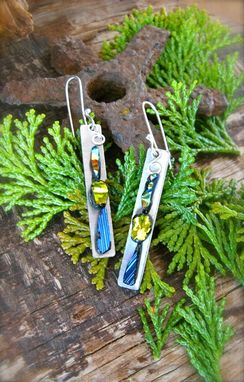 Custom Made Dangle Earrings Made From Stainless Steel And Art Glass