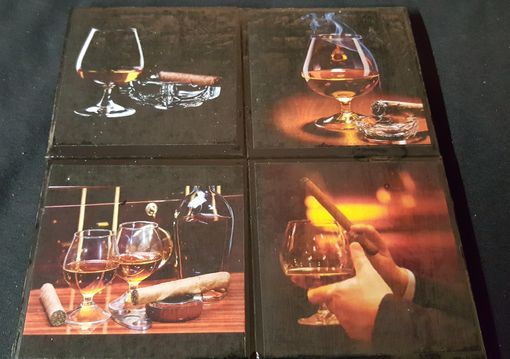 Custom Made Cigars & Cognac Ceramic Tile Drink Coaster Set