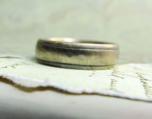 Custom Made Rustic Wedding Band In 14k Gold