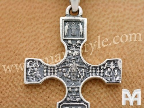 Custom Made Sterling Silver Old Antique Hieroglyph Cross Pendant