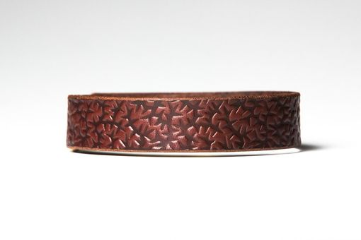 Custom Made Chestnut Brown Leather Choker - Embossed With Thorns - Nickel Fasteners