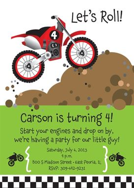Custom Made Dirt Bike Birthday Party Invitation