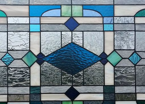 "Custom Made Stained Glass Windows - ""Blue/Green/Teal Shades"" (W-74)"