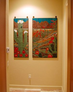 Custom Made Custom Hand Glazed Tile Diptych Mural