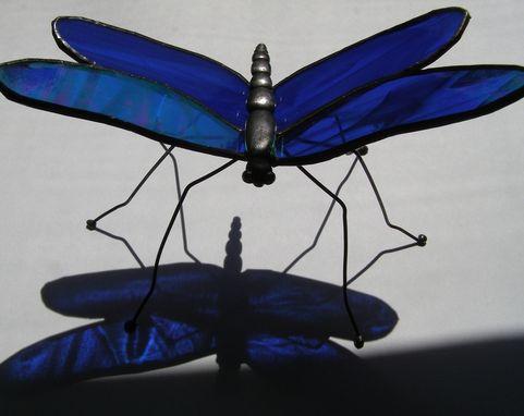 Custom Made Stained Glass Dragonfly- Freestanding